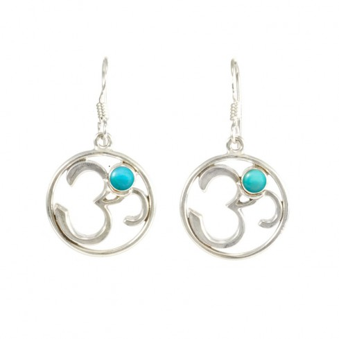 Silver Om Earrings with Natural Stone - PIERRES FINES - Boutique Nirvana