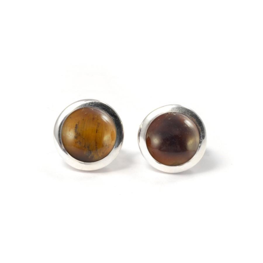 Boucles d'oreilles pierre ronde avec contour d'argent - Clous d'oreilles - Boutique Nirvana