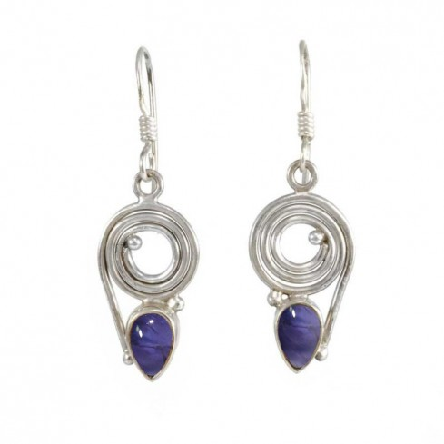 Silver Spiral Earrings with Natural Stone - SILVER EARRINGS - Boutique Nirvana