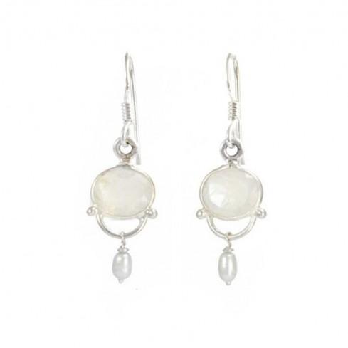 Boucles d'oreilles pendantes avec pierre - BOUCLES ARGENT - Boutique Nirvana