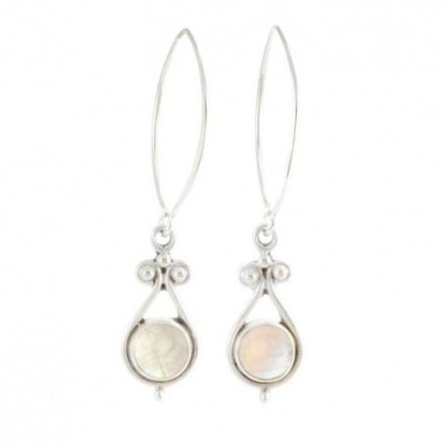 Bohemian Silver and Stone Drop Earrings - SILVER EARRINGS - Boutique Nirvana