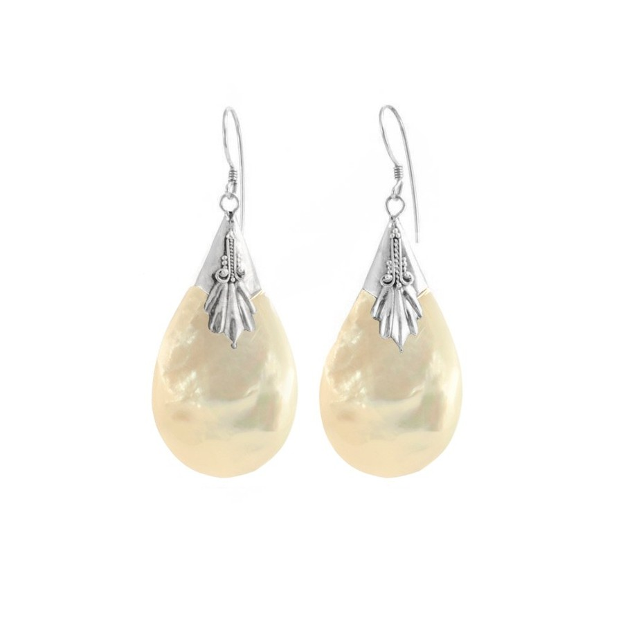 Indonesian Natural Stone Drop Earrings - SILVER EARRINGS - Boutique Nirvana