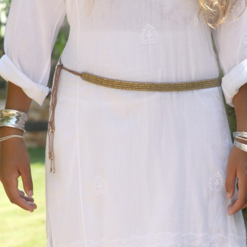 Ethnic Beaded Adjustable Tie Belt - BELTS - Boutique Nirvana