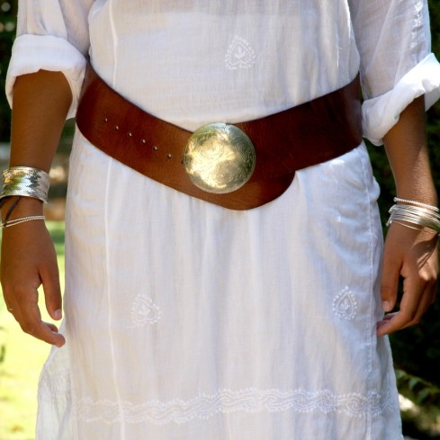 Round buckle leather belt - BELTS - Boutique Nirvana