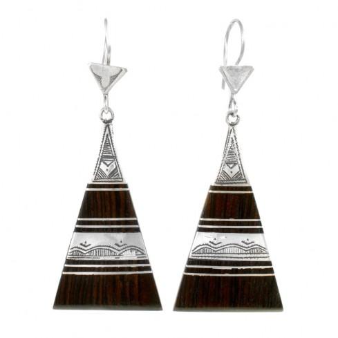 Boucles d'oreilles Touareg triangles graphiques