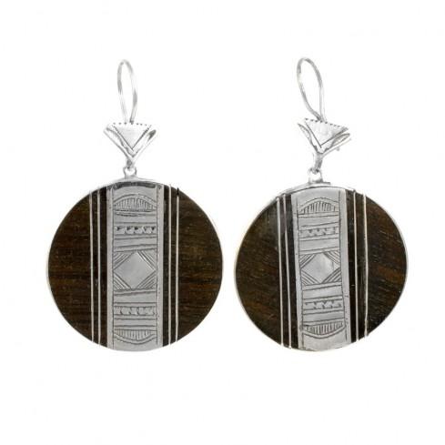 Boucles d'oreilles Touareg rondes graphiques - TOUAREG - Boutique Nirvana