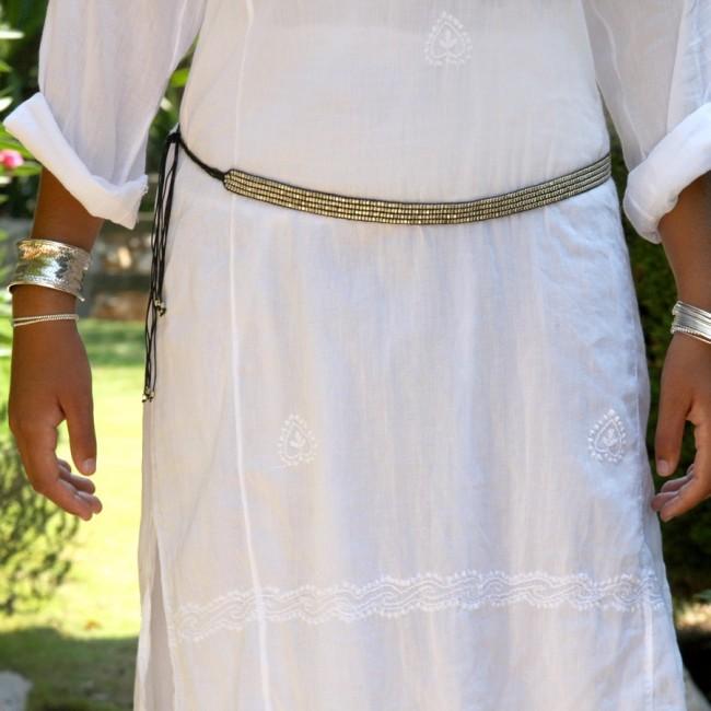 Ethnic Beaded Adjustable Tie Belt - BELTS - Boutique Nirvana