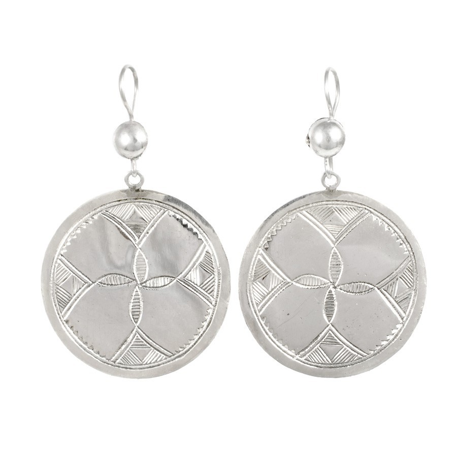 Boucles d'oreilles Touareg rondes plates - TOUAREG - Boutique Nirvana