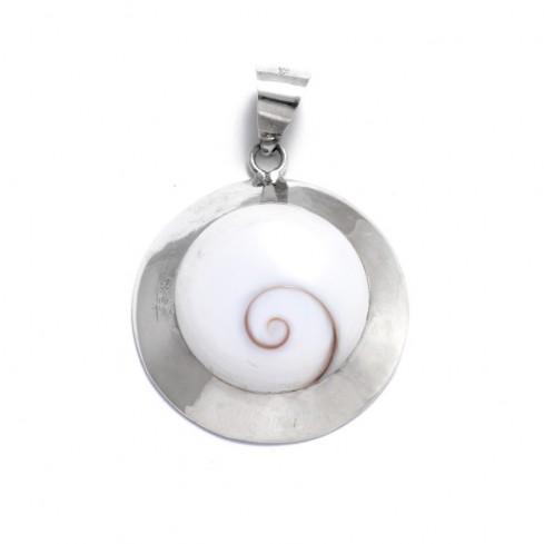 Grand pendentif rond contour épais Oeil de Sainte Lucie - Eye of Shiva - Boutique Nirvana