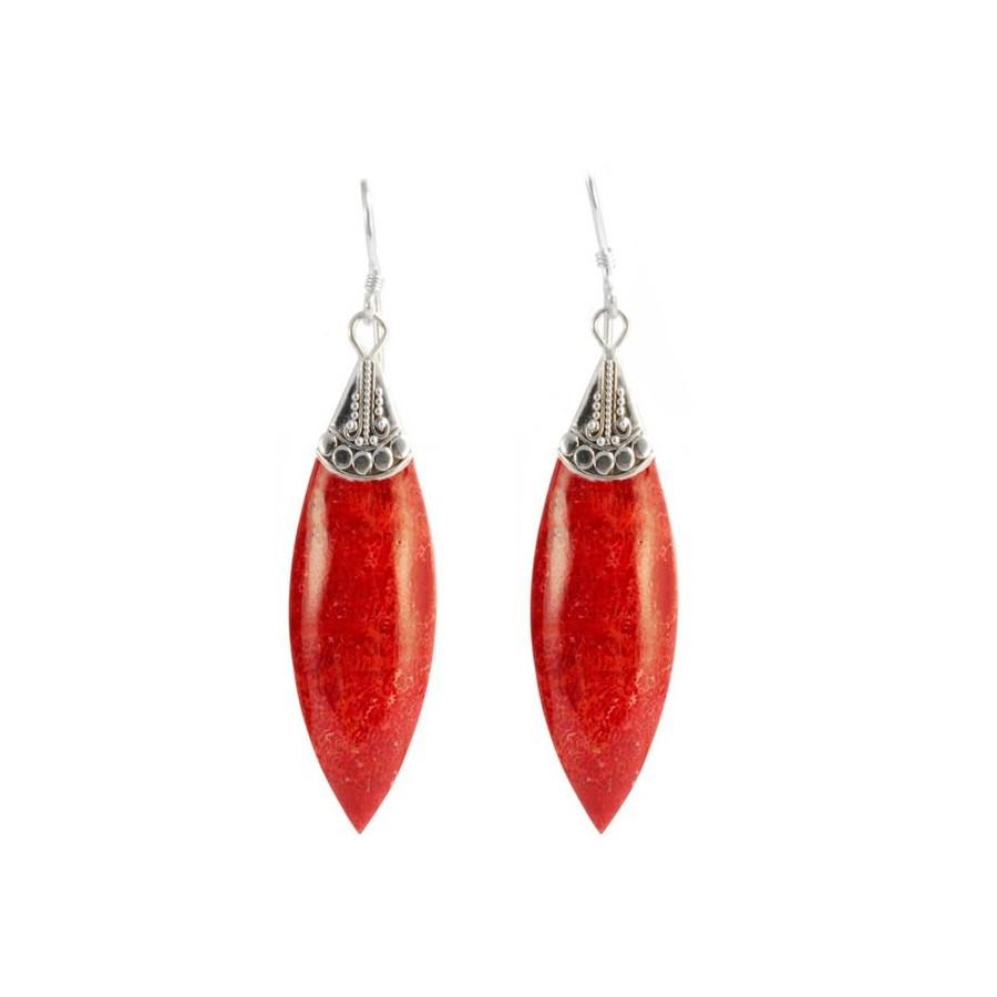 Boucles d'oreilles pierre naturelle et chapeau plein - BOUCLES ARGENT - Boutique Nirvana