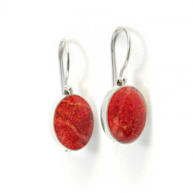 Beautiful Indonesian Stone Drop Earrings - BOUCLES ARGENT CORAIL & NACRE - Boutique Nirvana