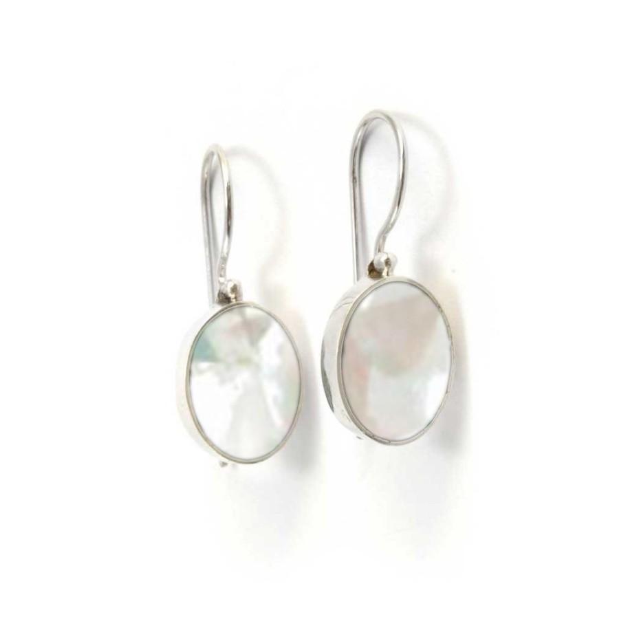 Boucles d'oreilles dormeuses pierres ovales et argent - Corail, nacre etc. - Boutique Nirvana