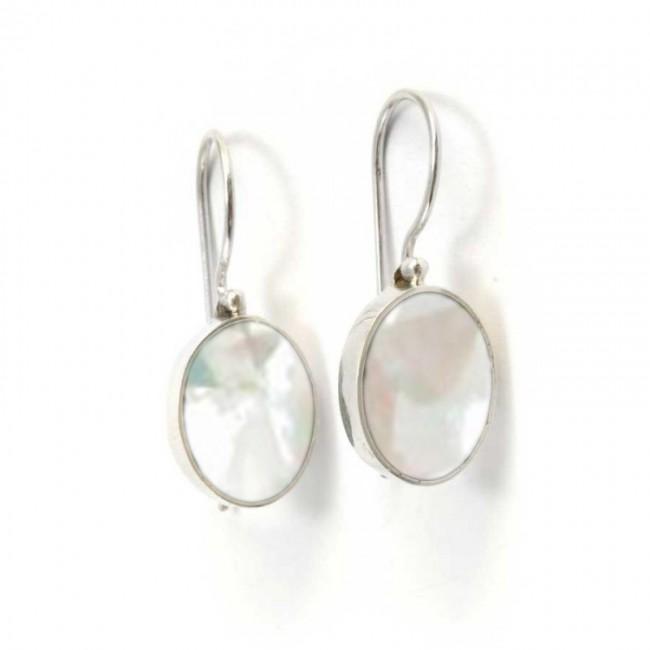 Beautiful Indonesian Stone Drop Earrings - BOUCLES ARGENT CORAIL & NACRE - Boutique Nirvana