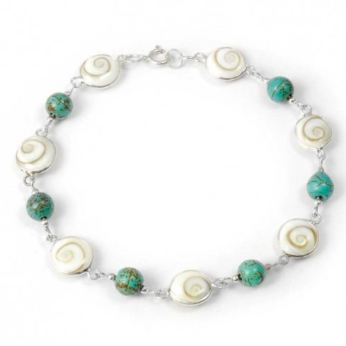 Eye of St Lucia and Natural Stone Silver Bracelet - Silver Bracelets - Boutique Nirvana