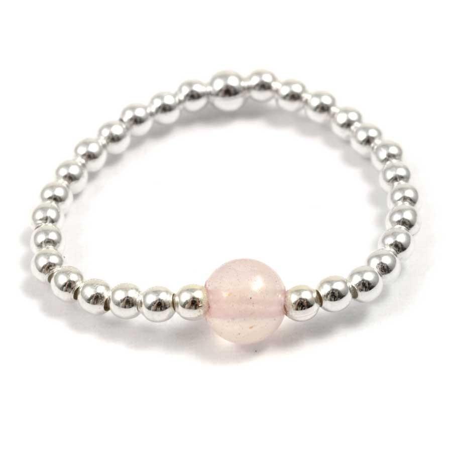 Bagues élastiques perles d'argent