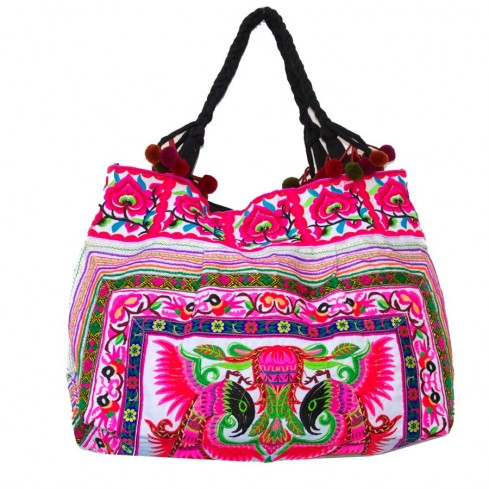 Grand sac ethnique fond brodé Cholena - BAGS - Boutique Nirvana