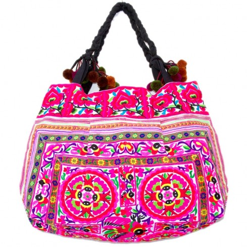Grand sac ethnique fond soufflet broderies Mandala - BAGS - Boutique Nirvana