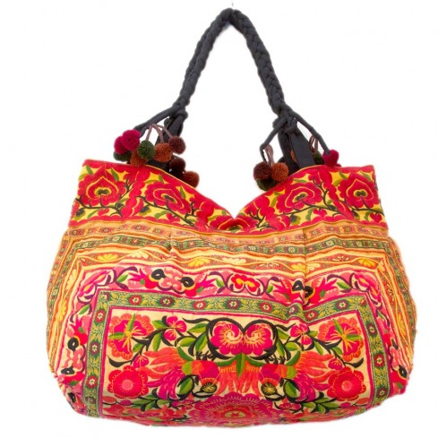 Grand sac ethnique fond soufflet broderies Macao - BAGS - Boutique Nirvana