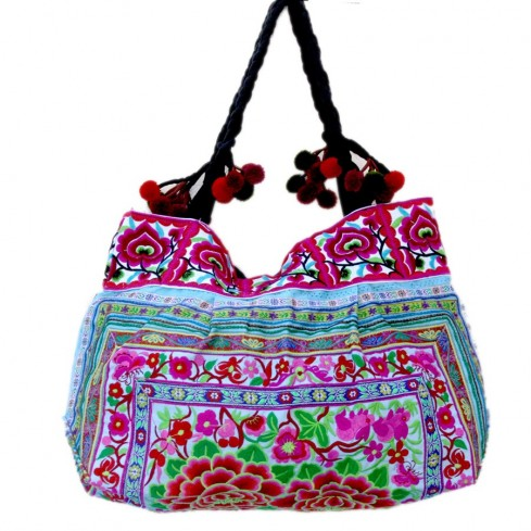 Grand sac ethnique fond soufflet broderies Flowers - BAGS - Boutique Nirvana