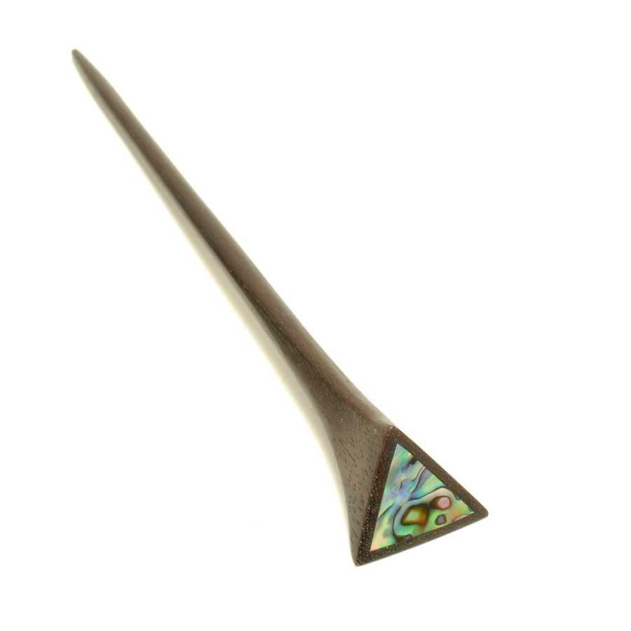 Pics en bois avec triangle d'abalone  - HAIRPINS - Boutique Nirvana