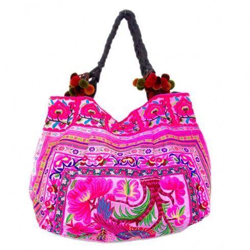 Grand sac ethnique fond soufflet broderies Jungle - BAGS - Boutique Nirvana