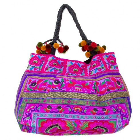 Grand sac ethnique fond soufflet broderies rainbow - BAGS - Boutique Nirvana