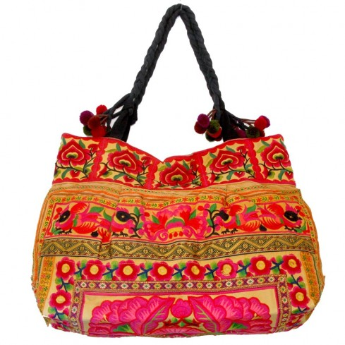 Grand sac ethnique fond soufflet broderies Ceylan - BAGS - Boutique Nirvana
