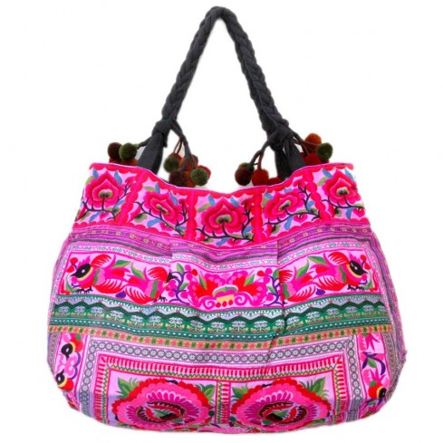 Grand sac ethnique fond soufflet broderies India - BAGS - Boutique Nirvana