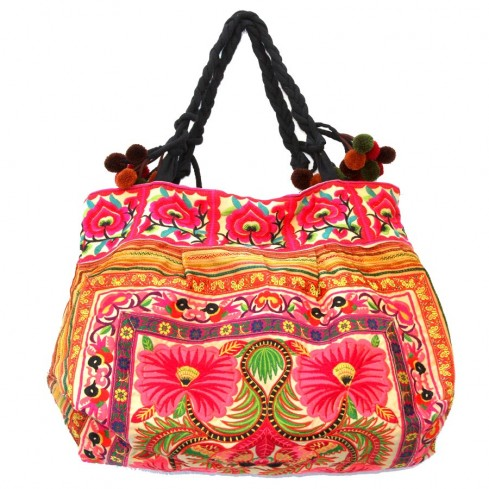 Grand sac ethnique fond soufflet broderies Nita - BAGS - Boutique Nirvana