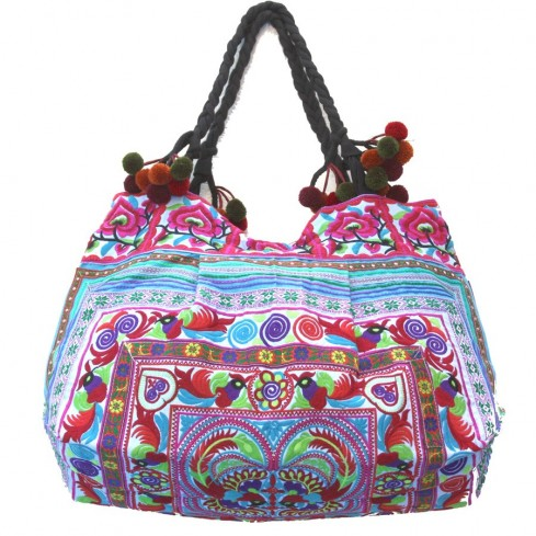Grand sac ethnique fond soufflet broderies Wakanda - BAGS - Boutique Nirvana
