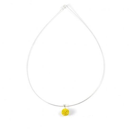 Silver strass pendant yellow