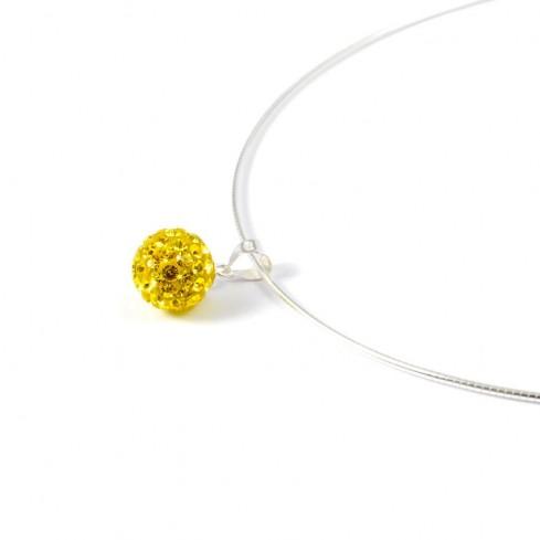 yellow Silver strass pendant