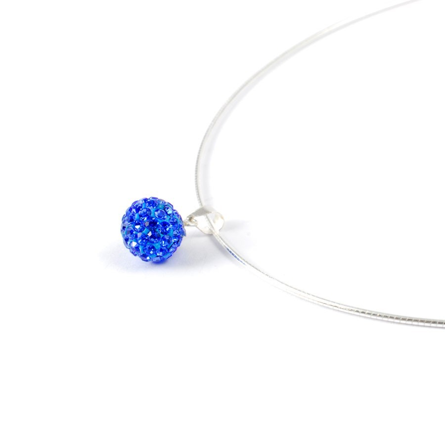Silver strass pendant necklace blue