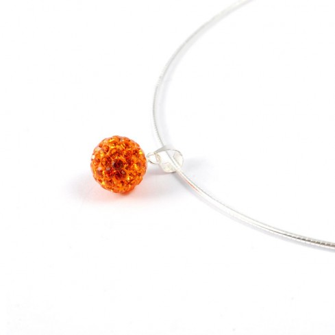 collier femme strass Orange