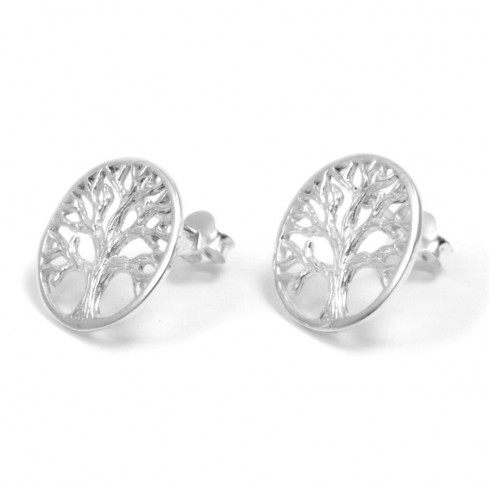 Petites boucles d'oreilles arbre de vie clou - ARBRE DE VIE - Boutique Nirvana