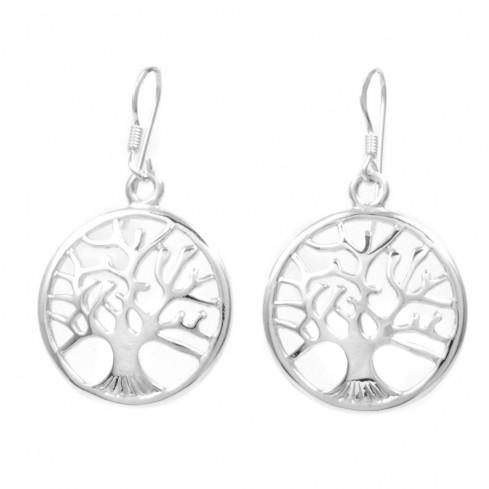 Petites boucles d'oreilles arbre de vie bombé - Tree of Life - Boutique Nirvana