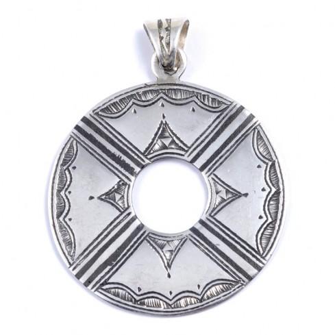 Pendentif Touareg disque gravé - Silver Jewellery  - Boutique Nirvana
