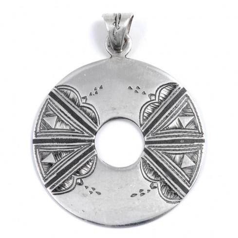 Pendentif Touareg rond perforé - Silver Jewellery  - Boutique Nirvana
