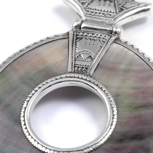 Pendentif Touareg nacre perforée - Silver Jewellery  - Boutique Nirvana