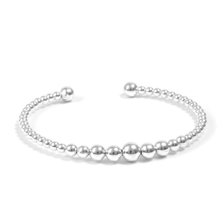 Bracelet rigide perles d'argent - Silver Bracelets - Boutique Nirvana