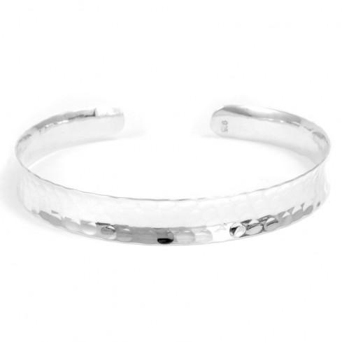 Bracelet incurvé en argent martelé - Silver Bracelets - Boutique Nirvana