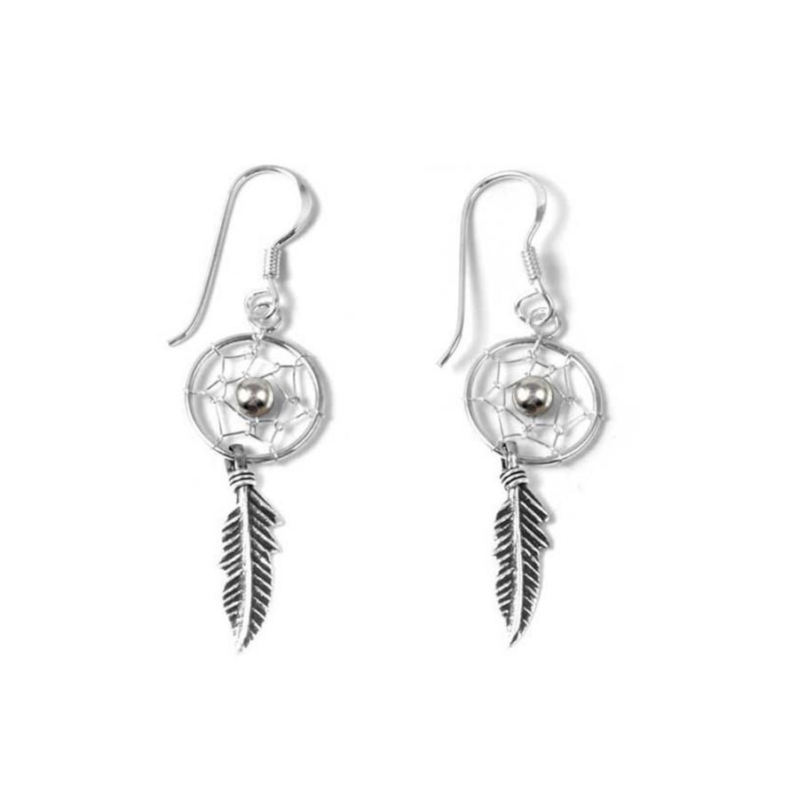 Boucles d'oreilles petits capteurs de rêves 1 plume - DREAMCATCHERS - Boutique Nirvana
