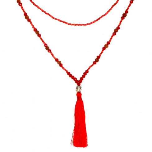 Mala rudraksha et perles de cristal