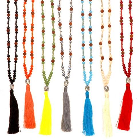 Mala rudraksha et perles de cristal - Malas - Boutique Nirvana