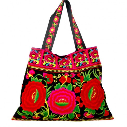 Grand sac ethnique hanses broderies Kilimandjaro - BAGS - Boutique Nirvana