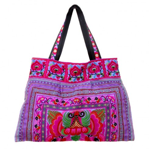 Grand sac ethnique anses broderies Kerala - SACS - Boutique Nirvana