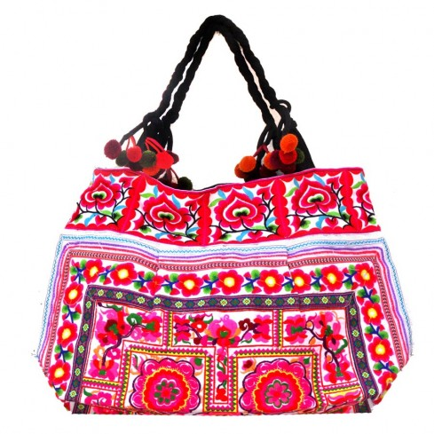 Grand sac ethnique fond soufflet broderies Ojalee - BAGS - Boutique Nirvana