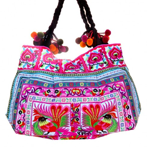 Grand sac ethnique fond soufflet broderies Cholena - BAGS - Boutique Nirvana