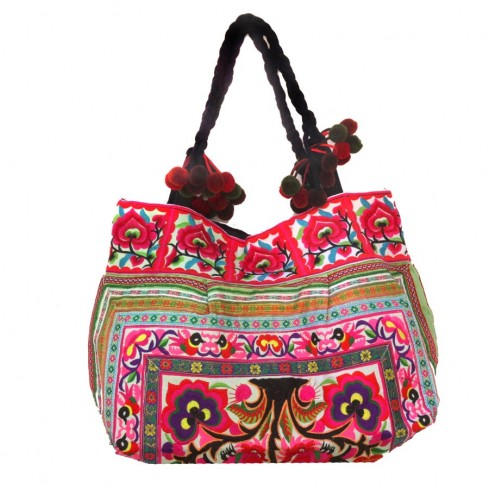 Grand sac ethnique fond soufflet broderies Asia - BAGS - Boutique Nirvana