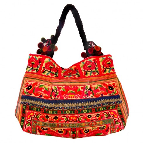 Grand sac ethnique fond soufflet broderies Arumina - BAGS - Boutique Nirvana